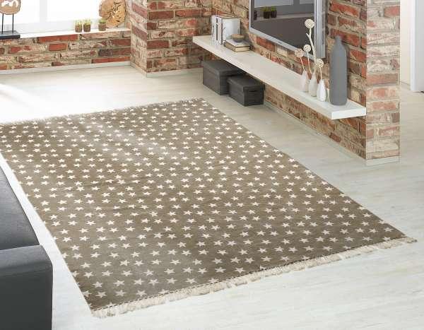 Vintageteppich MULTI STAR 4, Beige mit weißen Sternchen, 140x200 cm