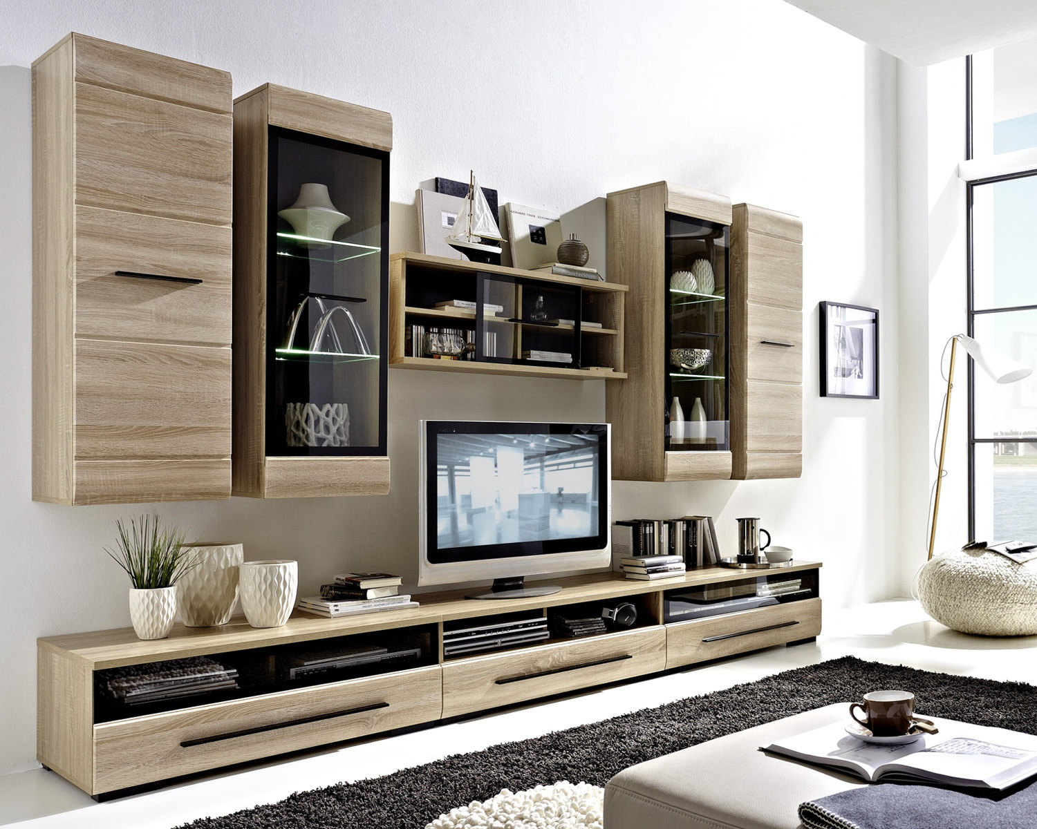 wohnwand in eichedekor s gerau mit viel stauraum sasha 21 m bel jack. Black Bedroom Furniture Sets. Home Design Ideas
