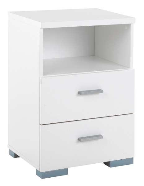 Nachttisch B 45 x H 66 cm, Weiß matt, mit 2 Schubkästen