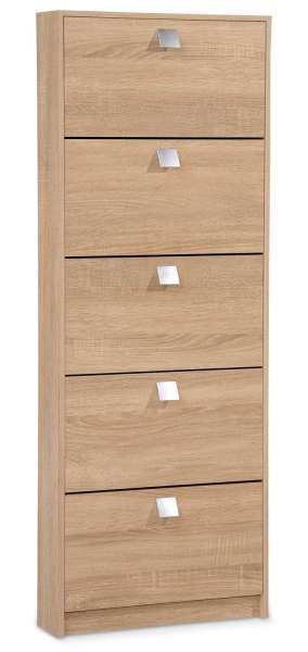 schmaler schuhschrank in eichedekor s gerau mit 5 klappen. Black Bedroom Furniture Sets. Home Design Ideas
