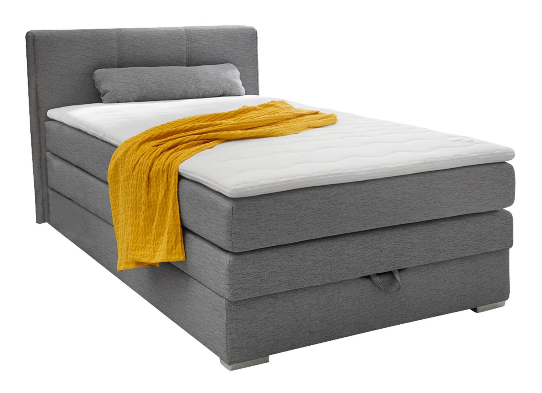Boxspringbett 120×200 cm, Grau Webstoff, mit Topper & Bettkasten | 001132007300000