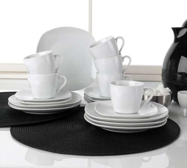 Kaffee-Service 18-tlg. (6 Personen), Weiß, Porzellan