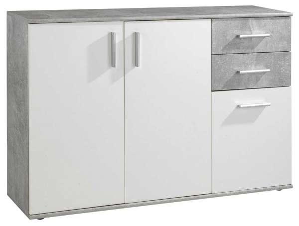 Kommode 120x82 cm Weiß-Beton Dekor, 3 Türen, 2 Schubladen