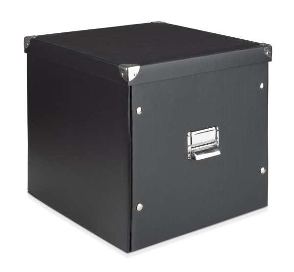 aufbewahrungsbox mit deckel aus karton in schwarz sano 2 m bel jack. Black Bedroom Furniture Sets. Home Design Ideas