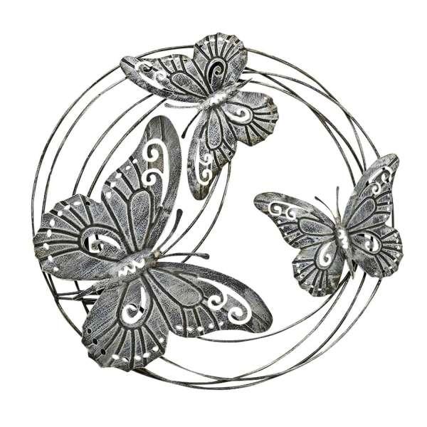 Wand-Deko, Schmetterling FELICITY, H 58 cm, Grau, Eisen, Schmetterling