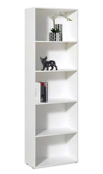 Regal Bücherregal Büroregal TULA 2, Weiß mit 4 Böden, 60x192x30 cm