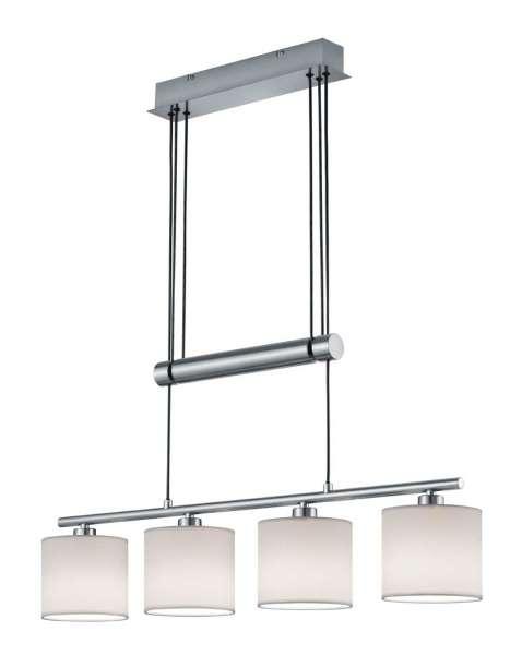Lampe Pendelleuchte GARDA, Weiß-Nickelfarben, höhenverstellbar