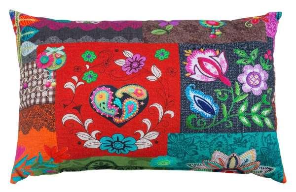 Kissen Dekokissen Zierkissen BIRGA 11, B 40 x L 60 cm, Bunt, Blumen