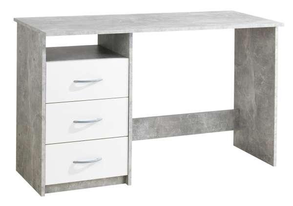 Schreibtisch ANGELA, 120 x 50 cm, Weiß - Beton Dekor, mit 3 Schubladen