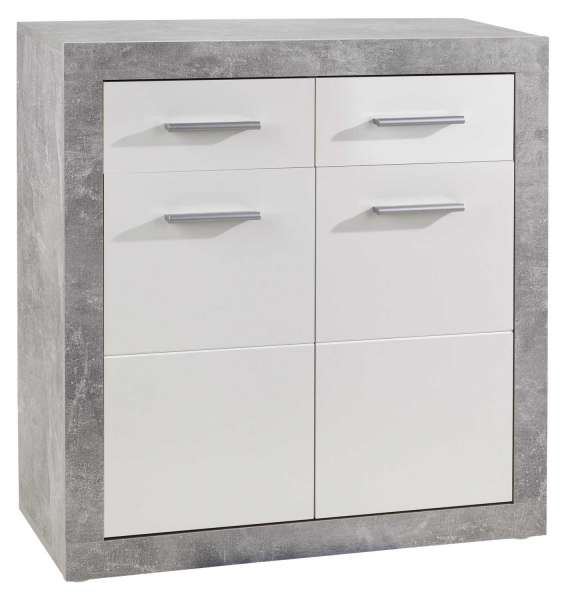 Kommode weiß, glänzend, 2 Türen, 2 Schubkästen, 82x88x37 cm
