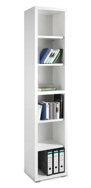Bücherregal SILKE 2, Weiß Melamin, Weiß Hochglanz