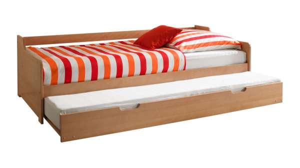 Bett Tandembett HANKA, Buche massiv lackiert 90x200 cm, mit Bettkasten