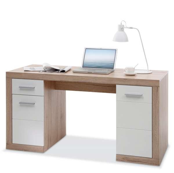 Schreibtisch CLAUDINE 6, Weiß matt