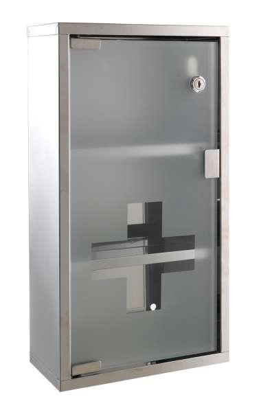 Medizinschrank KEY 1, Edelstahl verchromt, 25 x 48 cm, Glastüre satiniert, 2 Schlüssel