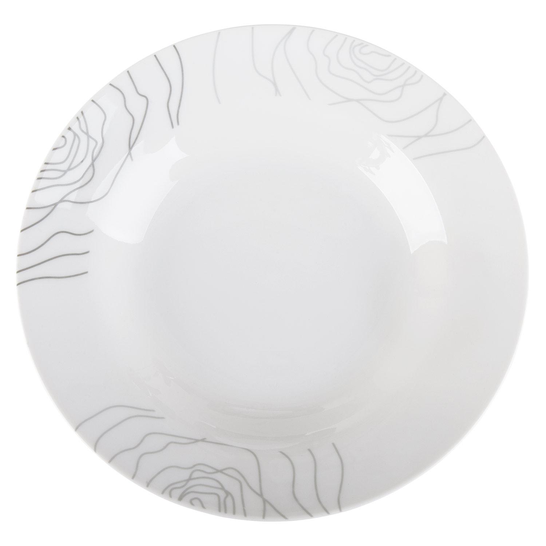 Tafelservice LINETTA, Weiß, florales Dekor in Grau/Silber