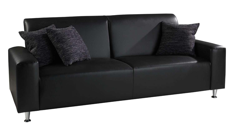 Sofa EDNA 3 in schwarzem Kunstleder, schöner 3 Sitzer passend zur ...