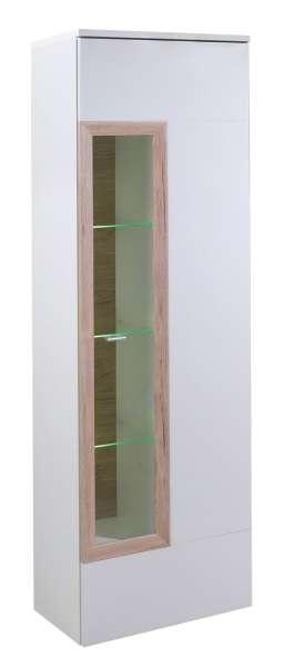 Vitrine PETER 7, B 60 x H 197 cm, Weiß Hochglanz, inkl. Beleuchtung