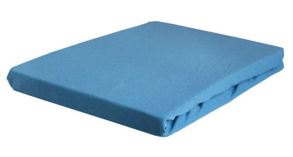 Bettlaken Spannbetttuch BERTINA 6 , 90x200 cm, Blau Baumwolle, Rundumgummi