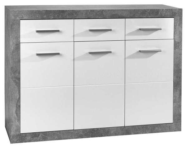 Kommode, weiß, glänzend, 3 Türen, 3 Schubkästen, 117x88x37 cm
