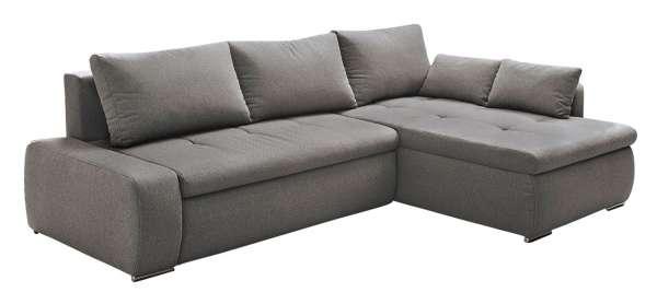 Sofa, Couch AMIRA, B 260 x T 181 cm, Grau, mit Bettfunktion & Bettkasten, inkl. Kissen