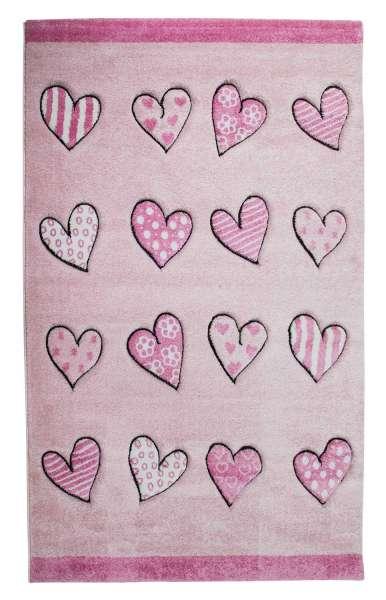 Kinderteppich Spielteppich B 133 x L 190 cm, Rosa, mit Herzen