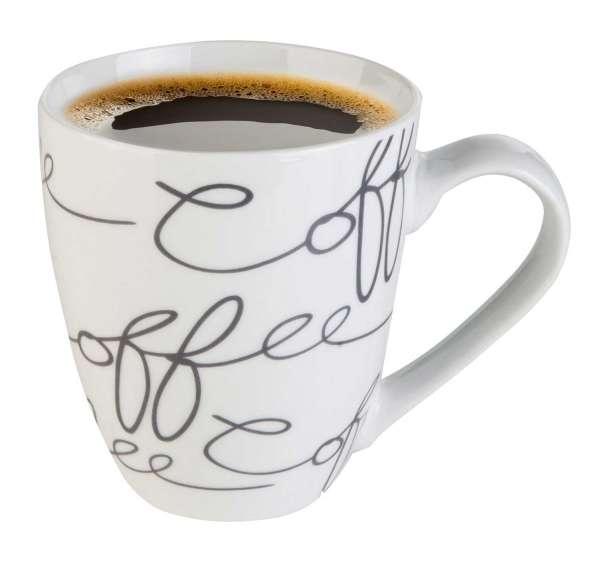 Tasse Becher Kaffeetasse CAFETO 1, Porzellan Weiß-Grau mit Schriftzug