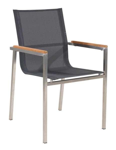 Gartenstühle holz stapelbar  Gartenstuhl aus Edelstahl und Holz stapelbar mit Armlehnen ALINE 1 ...