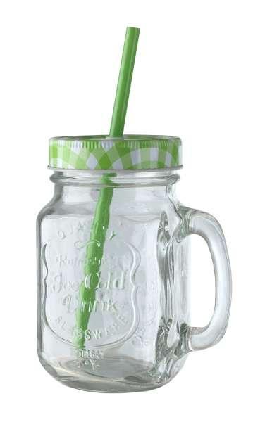 Glas Trinkglas ZARJA 11, Grün mit Deckel & Röhrchen, ca. 480 ml
