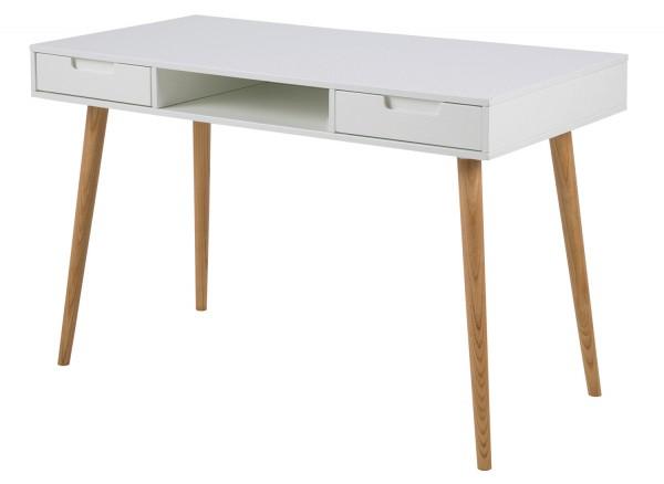 Schreibtisch LYON 2, weiß hochglanz, mit 2 Schubkästen