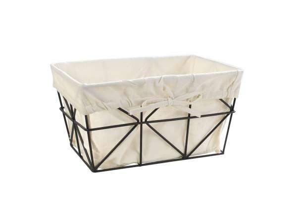 Aufbewahrungskorb, Aufbewahrungsbox RAMBERT 2, Draht mit weißem Stoff, 30x20x16 cm