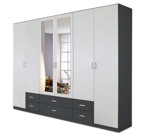 Kleiderschrank CLAUDIO 3, weiß/grau, 271 cm breit