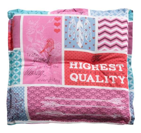 Hockerauflage, Gartenauflage, Sitzpolster BRANO 2, Pink-Türkis