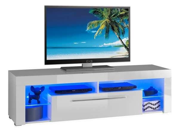 TV-Lowboard Fernsehtisch Weiß Hochglanz, mit Beleuchtung