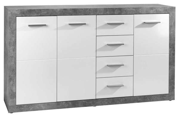 Sideboard, Kommode SABRINA 3, weiß, glänzend, 3 Türen, 4 Schubkästen, 152x88x37 cm