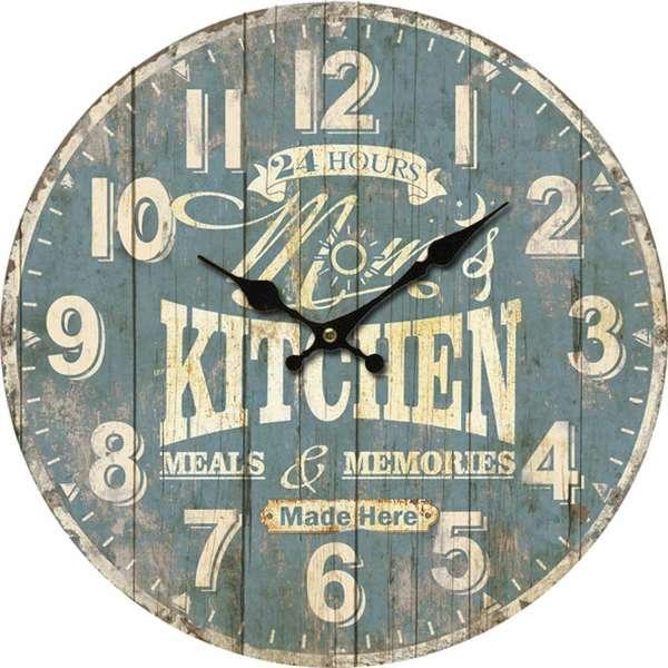 Wanduhr Küchenuhr RASKO, Ø 33,8 cm, Vintagelook, MDF