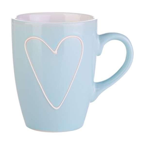 Tasse Kaffeetasse Becher QUEENY 3, Steingut Hellblau mit weißem Herz