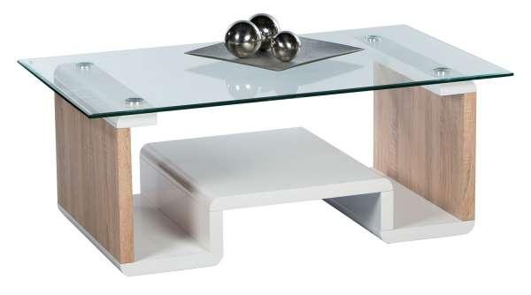 couchtisch in wei hochglanz eichedekor mit glasplatte. Black Bedroom Furniture Sets. Home Design Ideas