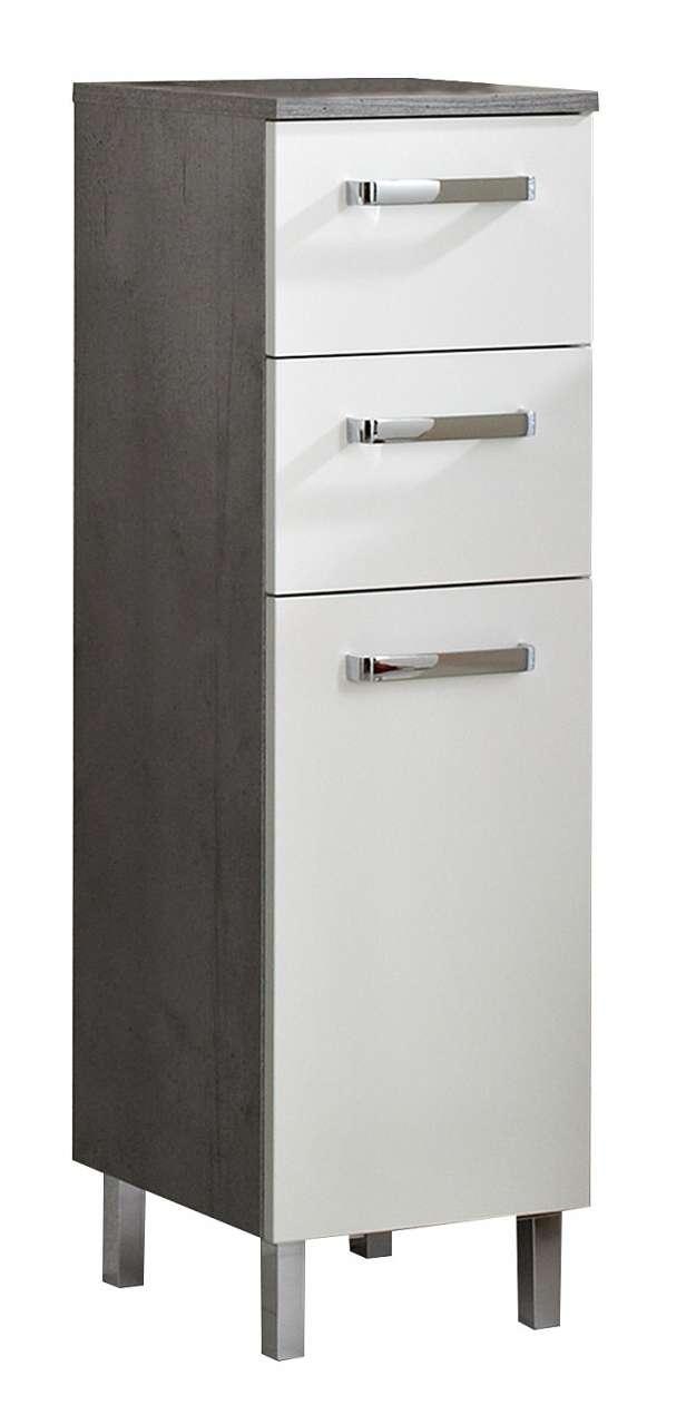 Schränke Badunterschrank HADO 3, Weiß Glanz, 1 Türe, 2 Schubkästen, (B/H/T) 30x101x33 cm