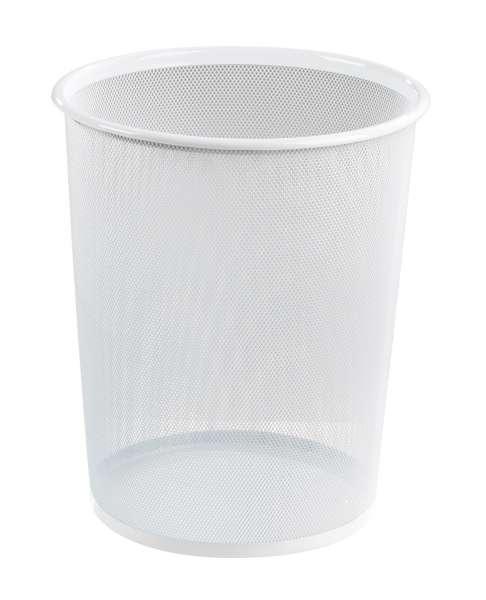 Papierkorb Mülleimer JACOB 1, Metallgeflecht Weiß, Höhe 35,5, 10 Liter