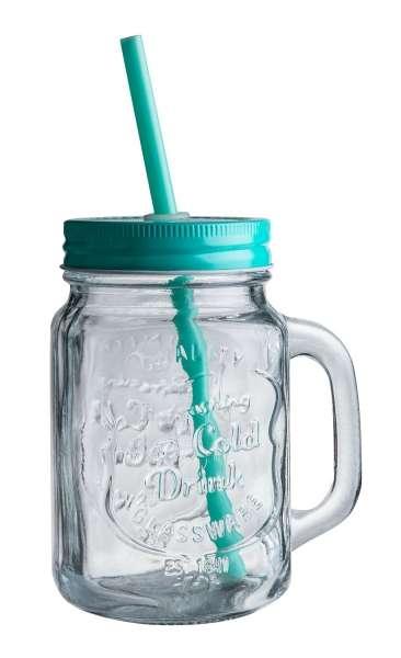 Glas Trinkglas ZALINA 1, Mint mit Deckel & Röhrchen, ca. 480 ml