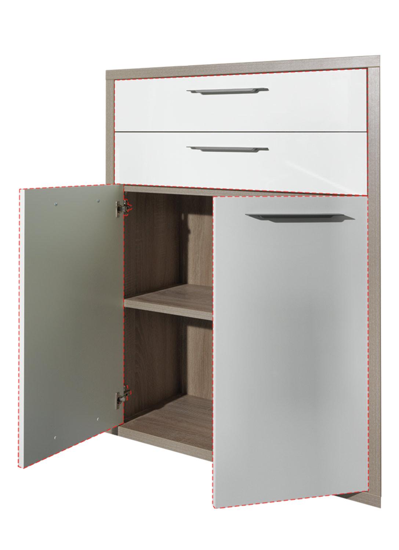Türen-Schubkasten-Set, Hochglanz Weiß, 75×105 cm   002355001805000