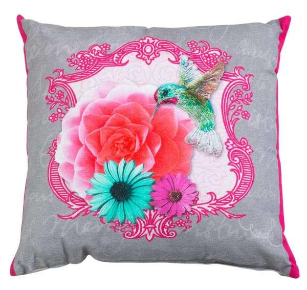 Kissen Dekokissen Zierkissen FREA 12, Grau-Pink-Kolibri, 48 x 48 cm