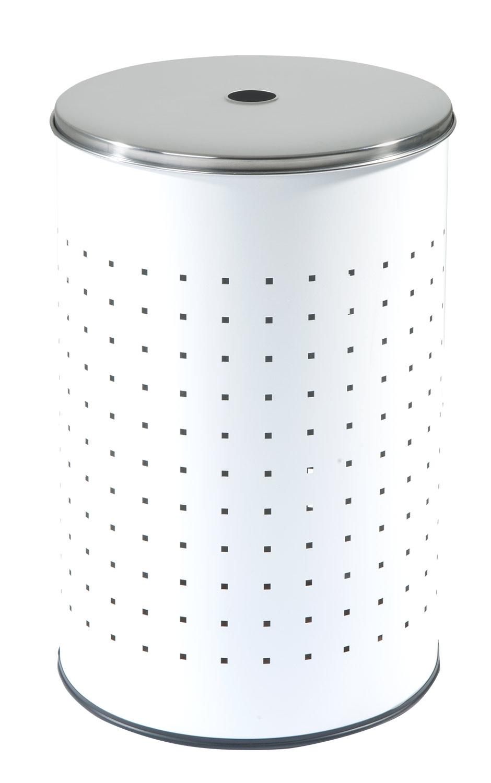 Wäschetonne BARREL, Edelstahl, weiß, ca. 37 Liter, 54 cm hoch