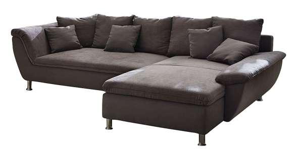 Sofa, Couch AMY, B 300 x T 194 cm, Braun Microfaser, inkl. Kissen