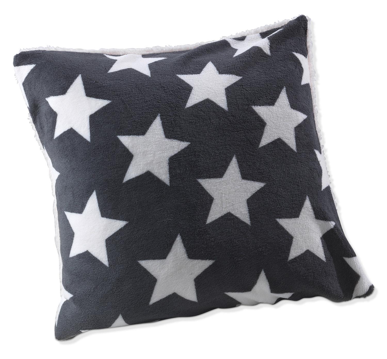 Kissenhülle SHEILY 1, Grau mit Sternen, 50x50 cm