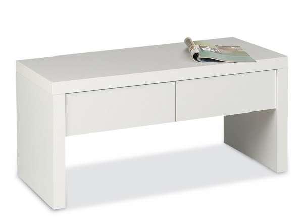 Bank Sitzbank Garderobenbank Weiß Hochglanz, mit 2 Schubladen