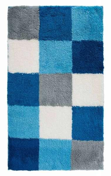 Badematte Badvorleger TIZIANA 42, 60x100 cm, Blau-Türkis-Weiß kariert