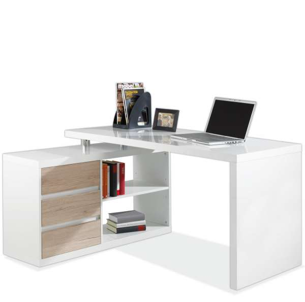 mikosch der eckschreibtisch mit 2 tischen und 3 schubladen. Black Bedroom Furniture Sets. Home Design Ideas