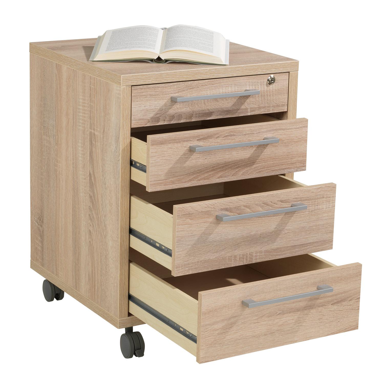 Rollcontainer, Schreibtischcontainer BALKO 6, Eiche, 4 Schubkästen, 1x abschließbar